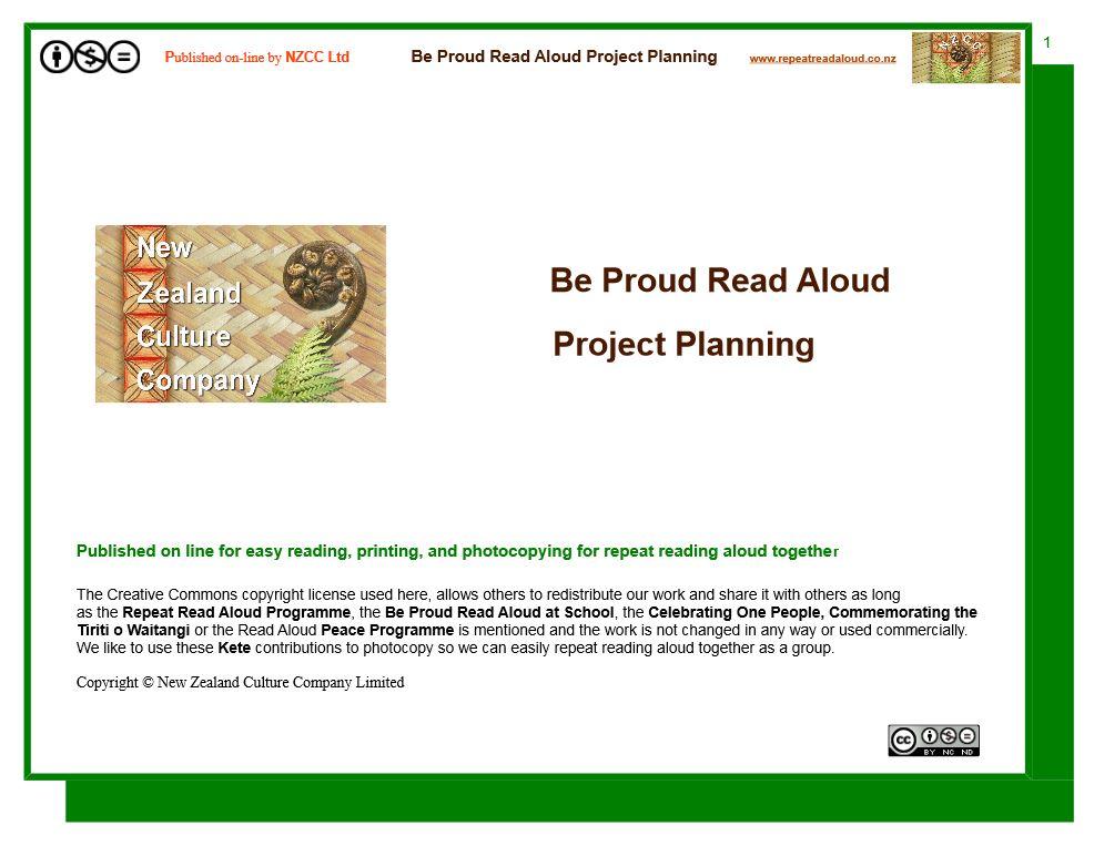 Be Proud Read Aloud Project Plan