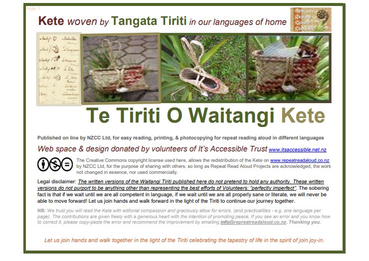 Te Tiriti O Waitangi Kete 29 October 2019